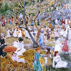 """Maurice Prendergast May Party (also known as May Day, Central Park) - 16"""" x 20"""" - 16"""" x 20"""" Maurice Prendergast May Party (also known as May Day, Central Park) premium archival print reproduced to meet museum quality standards. Our museum quality archival prints are produced using high-precision print technology for a more accurate reproduction printed on high quality, heavyweight matte presentation paper with fade-resistant, archival inks. Our progressive business model allows us to offer works of art to you at the best wholesale pricing, significantly less than art gallery prices, affordable to all. This line of artwork is produced with extra white border space (if you choose to have it framed, for your framer to work with to frame properly or utilize a larger mat and/or frame).  We present a comprehensive collection of exceptional art reproductions byMaurice Prendergast."""