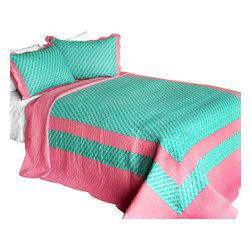 Blancho Bedding - [Geek In The Pink] Cotton 3PC Vermicelli-Quilted Printed Quilt Set (Full/Queen) - Set includes a quilt and two quilted shams (one in twin set). Shell and fill are 100% cotton. For convenience, all bedding components are machine washable on cold in the gentle cycle and can be dried on low heat and will last you years. Intricate vermicelli quilting provides a rich surface texture. This vermicelli-quilted quilt set will refresh your bedroom decor instantly, create a cozy and inviting atmosphere and is sure to transform the look of your bedroom or guest room. Dimensions: Full/Queen quilt: 90 inches x 98 inches  Standard sham: 20 inches x 26 inches.