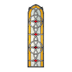 EttansPalace - 100pcs Handcut Gothic Tiffany-Style Stained Glass Window - A perfect symmetry of Celtic knots rises nearly a yard high toward a timelessly elegant Gothic arch in this unique, vertical work of textured art glass. Our stained glass window will shine its warm welcome in any sunny or meditative space. Each individually hand-cut piece of art glass is copper-foiled and encased in glazier's lead. Display it within a window frame using the scrolled bracket included for hanging. This is authentic, hand-crafted art glass; variations of texture and color are part of the process.
