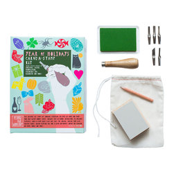 Yellow Owl Workshop - Year of Holidays Carve-A-Stamp Kit - This festive all in one kit contains everything you need to create your own personal and festive stamps for a variety of major holidays. The kit includes 36 templates for year round celebrations, double sided Carve-A-Stamp bloc, carving tool with multiple blade, muslin keepsake bag and a green all purpose ink pad for printing on paper, fabric and more!