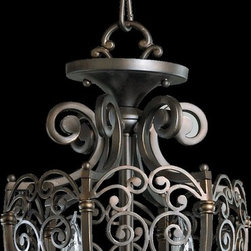 Quorum Lighting - Quorum Lighting Marcela Traditional Foyer Light X-68-2-1386 - Quorum Lighting brings to us the Old World tradition of forged iron in their Marcela traditional foyer light. The solidity and sturdy craftsmanship of European artisans is reflected in the individual elements like the arms of a chandelier. An Oiled Bronzed finish is another homage to this European heritage.