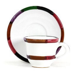 Artistica - Hand Made in Italy - CIRCO: Espresso Cup and Saucer set - The Circo-Bello collection is an exclusive product from Deruta of Italy designed by Bill Goldsmith.
