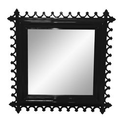 Newport Decorative Mirror - Square - Tricorn Black - Calling upon the heritage of Newport's famed Gilded era, the Newport mirror is slightly decadent in its design. Each mirror, like the tables, is carved and hand sanded, with impeccable fretwork detailing. Although we are partial to the brighter hues, the Newport is incredibly dapper in black or white too. Our mirror is available in two great sizes. Available in 16 colors. Custom color available. Made in the U.S.A.