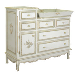 "AFK - AFK French Changer & Changing Tray Gilded - AFK creates treasured childhood furniture with a focus on quality craftsmanship and classic style. The French changer combines Old World elegance with the modern convenience of a changing table. Regal custom appliques and ornate carvings detail this piece, and its gilded accents lend an antique appeal. Featuring solid wood construction, the two-tiered changer with tray boasts six dove-tailed, stainless steel glide drawers with glass knobs. Shown in Versailles blue, this changing table is available in several finish options. Made in the USA and hand-finished using water-based, non-toxic paint. 53""W x 22""D x 48""H."