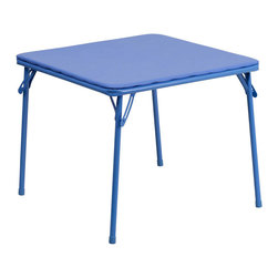 Flash Furniture - Kids Blue Folding Table - This child sized folding table is perfect for toddlers. Children can enjoy a table of their own for eating, reading, creating and playing. This table can be used outdoors so children can enjoy playtime outside or for a comfortable picnic setting. The easy to clean vinyl padded table top is great for toddler use.
