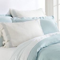 French Stripe Linen Sham, Euro, Blue - In a design reminiscent of cafe awnings, our bedding has a cheerful, casual look that's perfect for spring. Woven of pure linen. Yarn dyed for vibrant, lasting color. Duvet cover and sham reverse to piece-dyed solid. Duvet cover and sham have button closures. Duvet cover, sham and insert sold separately. Machine wash. Imported.