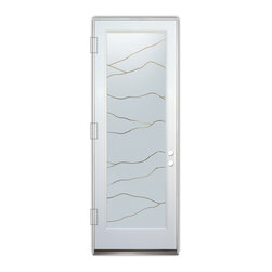 Sans Soucie Art Glass (door frame material Plastpro) - Glass Front Entry Door Sans Soucie Art Glass Abstract Hills - Sans Soucie Art Glass Front Door with Sandblast Etched Glass Design. Get the privacy you need without blocking light, thru beautiful works of etched glass art by Sans Soucie!  This glass is semi-private.  (Photo is view from outside the home or building.)  Door material will be unfinished, ready for paint or stain.  Bronze Sill, Sweep.  Satin Nickel Hinges. Available in other sizes, swing directions and door materials.  Tempered Safety Glass.  Cleaning is the same as regular clear glass. Use glass cleaner and a soft cloth.