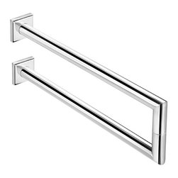 WS Bath Collections - Double Towel Bar - Contemporary style. Designer high end quality. Premium quality. Avantgarde. Warranty: One year. Made from solid brass base. Polished chrome color. Made in Spain. No assembly required. 14.2 in. W x 5.1 in. H (10 lbs.)Kubic class the very well known brand name for premium and highend bathroom furnishings. Unique and fine bath complements and accessories of various designs and materials