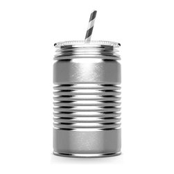 """AdNArt - Silver Stainless Steel I-Can Sippy Cup - A straw pokes through the lid of this cool stainless steel tumbler, which design makes it an eco-friendly choice to carry on the go in lieu of disposable cups. The stainless steel construction makes the Silver I Can Sipping Cup immune to dents, dings, and sonic boom-level slurping sounds, but if it should wear out, it can be dropped into the recycling bin. It has the look of a regular can but boasts a clear, splash-free lid to prevent spills.              * Dimensions: 3.5""""D x 9.5""""T * Capacity: 18 oz.               * 100% BPA-free              * Dishwasher safe"""