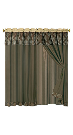"""Thomasville Coffee Curtains 2 x Panels 60x84""""ea. with Valance, 60x84+18 (2-Panel - Curtain set Includes: 2 Panels 60""""Wx84""""L + 18"""" Attached Valance"""