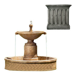 Campania International - Borghese w/Basin - Alpine Stone (AS) - The Borghese Fountain with Basin (FT-224) from Campania International is a visually striking, classic European urn fountain. Add a bit of drama to your entrance or garden. Made of cast stone. Pump included. Weight: 490 lbs.