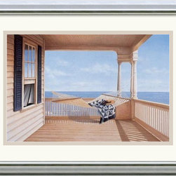 Amanti Art - A Summer Place Framed Print by Daniel Pollera - Inspired by the styles of Hopper, Homer and Wyeth, Daniel Pollera's work evokes tranquility and solitude. Living by the coastal landscapes that he paints, Pollera brings an almost photographic realism to his beach scenes.