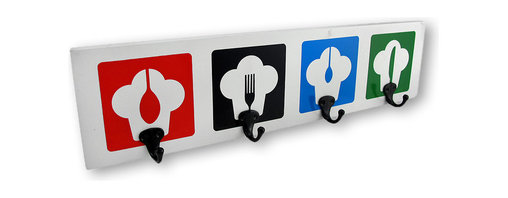 Zeckos - Chef Hats Four Hook Wall Plaque - This wall plaque will be a very bright addition to any kitchen or dining room It features four chef's hats, each with the silhouette of a dining utensil inside, painted on a white background. Four metal hooks complement each hat, and are perfect to hang cooking utensils, aprons, oven mitts or towels on. It easily hangs on the wall using two nails or screws with the attached keyhole hangers on the back. it's crafted from quality wood and measures 22 inches long, 5 1/2 inches wide and 2 1/2 inches deep. Hang this fun hook low on a wall so little chef's have easy access to their own apron and accessories