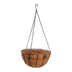 Panacea Products - 14'' Black Star Hanging Basket - Grow healthy plants with this hanging basket that offers a sturdy steel construction, a graceful star motif and a coco liner for cultivating lush, hearty blooms.   Includes planter and coco liner 14'' W x 14'' H x 7'' D Steel Imported
