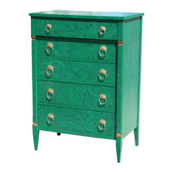 1940s Faux Malachite Chest of Drawers - I love the look of this faux malachite chest of drawers. The description states that it is covered with malachite wallpaper and then lacquered. I think it would make a fantastic DIY project.