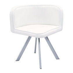 Global Furniture - Global Furniture USA 536 Dining Chair in White and Black (Set of 2) - These armless dining chairs compliment the style of the dining table with their sleek lines and black/white finish. With a wedge style and designed to fit perfectly under the table these pieces completed with silver metal legs will enhance your current decor.