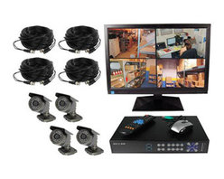Safety Technology - 4CH DVR Complete System, 4 Wired - This surveillance system allows you to install up to 4 wired cameras to digitally record all activity. This DVR has full networking capability and uses an embedded DVR which allows you to view live video on the Internet or play back recorded video.