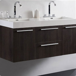 Fresca - Fresca Opulento Grey Oak Modern Double Sink Bathroom Vanity w/ Medicine Cabinet - Experience the luxury of extra space with the Fresca Opulento Double Sink Bathroom Vanity, model FVN8013GO. This wall mounted double basin modern bathroom vanity saves valuable floor space. There is also ample storage with it's two cupboards, two drawers and a double medicine cabinet. The sleek, contemporary design, enhanced by a gray oak finish set off by a white acrylic countertop, integrated sinks and chrome fittings.