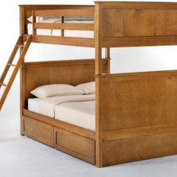 Schoolhouse Casey Full over Full Bunk Bed - Pecan - The Schoolhouse Casey Full over Full Bunk Bed - Pecan is a gentle giant sweet and strong that will ensure your children's safe slumber. This piece is fashioned from the best of solid hardwoods and finished in delectable pecan bringing a soft and calming presence to your kids' space. This bed is available with either a closed or open footboard and may be equipped with the optional trundle bed a privacy panel or drawers to sweeten the deal. The ladder and guardrail both secure for your peace of mind are interchangeable to better suit your spatial needs. This bed measures 81L x 57.25W x 70.75H inches. We take your family's safety seriously. That's why all of our bunk beds come with a bunkie board slat pack or metal grid support system. These provide complete mattress support and secure the mattress within the bunk bed frame. Please note: CPSC recommends the tops of the guardrails must be no less than 5 inches above the top of the mattress and that top bunks not be used for children under 6 years of age. About New Energy KidsNE Kids is a company with a mission: to create and import truly unique furniture for your child. For over thirty years they've been accomplishing this mission with flying colors one room at a time. Not only will these products look fabulous they will provide perfect safety for your children by adhering to the highest standards set by the American Society for Testing and Material and the Consumer Products Safety Commission. Your kids are in the best of hands and everyone will appreciate these high-quality one-of-a-kind pieces for years to come.