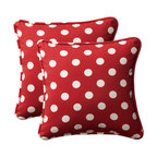 Pillow Perfect - Decorative Red/White Polka Dot Toss Pillows Square  Set of Two - - Red/White  - 100% Polyester  - 100% Virgin Recycled Polyester Fill  - Self-Cord Edge  - Fade Resistant Mildew Resistant UV Protection Water Resistant Weather Resistant  - Made in USA Pillow Perfect - 386843
