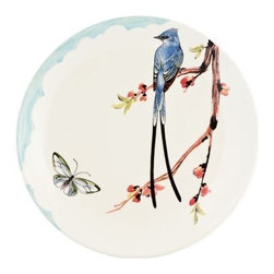 Fitz and Floyd 29-551 Flourish Dinner Plate - Set of 4 - If you're a bird-lover, you'll definitely fall for the stunning charm of the Fitz and Floyd 29-551 Flourish Dinner Plate - Set of 4. The elegant look of the bird perched on a branch features bright colors, sure to garner compliments from all who see it. The stoneware design is both dishwasher- and microwave-safe. Set of four plates.About Fitz and FloydFitz and Floyd is recognized worldwide as a leader amongst the style- and quality-conscious. For 50 years their unique designs have made them the leader in the purveyor of hand-painted ceramic dinnerware, tableware, accessories, giftware, and collectibles. All Fitz and Floyd pieces are easy to spot, distinctively hand-crafted by artisans from the drawing board to the sculpting wheel and kiln. Their Dallas-based studios are renowned for producing over 500 unique designs per year. Creations ranging from Presidential dinnerware for the White House, a tea service for Her Majesty Queen Elizabeth II, to the perfect centerpiece for your table, each design is lovingly crafted in the highest quality. Meticulous craftsmanship and exquisite detail make every Fitz and Floyd piece a treasured heirloom-quality gift.
