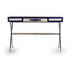 Zentique - Tiffany Desk - The Tiffany Desk features an off-white vinyl top with a navy vinyl trim on a stainless steel industrial table base.