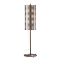 "George Kovacs - George Kovacs Grid Stick Perforated Steel Table Lamp - From George Kovacs this contemporary-style table lamp has a stellar design. Features a slim brushed nickel column and a perforated steel shade with a white diffuser. Takes one 60 watt bulb (not included). 29"" high. 7"" wide.  Brushed nickel finish.  Perforated steel accents.  From our collection of table lamps by George Kovacs.  Takes one 60 watt bulb (not included).   29"" high.   7"" wide."