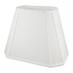 American Heritage Shades - Fabric Lampshade in White (18 in. Diam x 14 in. H) - Choose Size: 18 in. Diam x 14 in. HLampshade Types. Shantung faux silk with off-white fabric liner. Hand made. Matching top, bottom and vertical trim. Corner cut rectangle shape. Fitter type: 1 in. drop and washer for harp fitter. Enhances lamp and room decor. Made from polyester. Fitter in brass color. Made in USA. No assembly required