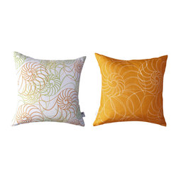 Kaypee Soh - Nautilus Pillow - Amber - Beautiful, geometric swirls and rich colors make up this beautiful beach theme design. Classic yet fun and whimsical.