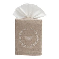 Jacaranda Living - Natural Linen Tissue Box Cover, Beige Bee Wreath - Natural Linen Tissue Box Cover embroidered with the Bee Wreath in beige. Made by Zulu women in South Africa.
