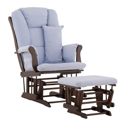 Stork Craft - Stork Craft Tuscany Glider and Ottoman with Free Lumbar Pillow in Espresso with - Stork Craft - Rocking Chairs Rockers - 06554539 - Available in 6 wood finishes and 4 fabric combinations to create your own custom Tuscany Glider and Ottoman. The Stork Craft Tuscany Glider and Ottoman set offers gentle motion while feeding your baby in those early morning hours. Featuring a solid construction with a magical sleigh design this is a royal centerpiece for your nursery. The enclosed metal ball-bearings allow for an incredibly smooth motion to glide your baby back to sleep. Micro fiber spot-cleanable cushions ease the worry about spills while the construction offers an exquisite finish you'll appreciate far beyond the baby years. The Tuscany Glider comes with a matching soft plush lumbar support pillow for supporting your baby during feeding times.