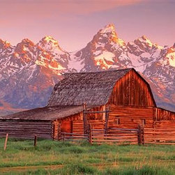 Walls 360, Inc. - Barn Grand Teton National Park Panoramic Fabric Wall Mural - Transform your empty walls with Walls 360's premium, repositionable wall graphics.