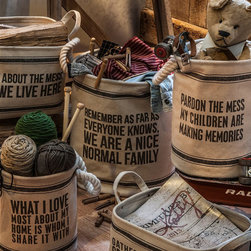 Flour Sack Totes - And the fabulous box sign instigates yet another soft spoken item. These flour sack totes hold makeup, knitting, toys, kindling, ironing, newspapers and more – all while offering a word or two of wit and wisdom.