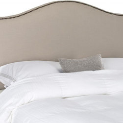 Safavieh - Ivanna King Headboard - Make an elegant statement with the Ivanna king headboard in tightly upholstered taupe linen fabric with thick padding to assure luxurious comfort. Nailhead detailing outlines the classic camelback silhouette for sophisticated bedroom fashion.