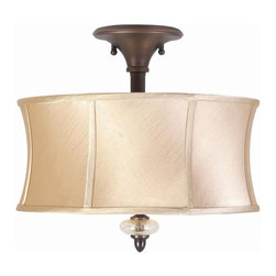 World Imports - Chambord 3 Light Semi-Flush w Glass Ornaments - Manufacturer SKU: WI857356. Bulbs not included. Champagne crackle glass ornaments. Full framed ivory silk lined shades. Weathered Copper Finish. Upscale approach to the basics of lighting your home. Chambord Collection. 3 Lights. Power: 60w. Type of bulb: Medium (Regular). Weathered Bronze finish. Canopy 5 in. D. 14 in. D x 12.25 in. H (6.38 lbs.)