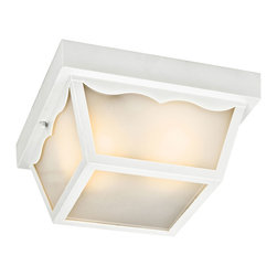 Kichler 1-Light Flush Mount - White Exterior - One Light Flush Mount Subtle traditional influencing and a clean shape are accentuated by crisp finishes on this energy efficient lighting outdoor flush mount ceiling light. The white finish compliments the soft tones of the satin etched glass shade, pulling the look together.
