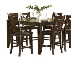 Homelegance - Homelegance Crown Point 8-Piece Counter Height Dining Room Set - Adorn your dining area with Crown Point collection . This grand scale casual dining in warm merlot finish is as strong and durable as they are stunning. table top is constructed of mango veneer with strong support tapered legs.