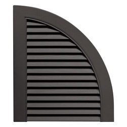 """Builders Edge - Louvered Design Quarter Round Tops in Tuxedo - Provides distinctive styling for standard shutters. Constructed with color molded-through vinyl so they will not scratch, flake, or fade. Durable, maintenance-free U.V. stabilized, deep wood grain texture. Made in the USA. For use with Builders Edge 15"""" Standard Louver Shutters only. 14.5 in. W x 1 in. D x 17 in. H (1.69 lbs.)"""