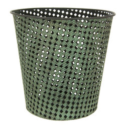 Oriental Furniture - Wrought Iron Perforated Round Waste Basket - This charming wrought iron wastebasket is modeled after Victorian cane webbing and finished with a lush green patina resembling aged copper. This item's innate class and timeless taste are a refined complement to the home or office.