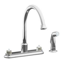 "KOHLER - KOHLER K-15889-K-CP Coralais Decorator Two Handle Kitchen Sink Faucet - KOHLER K-15889-K-CP Coralais Decorator Two Handle Kitchen Sink Faucet with 9"" Traditional Spout and Sidespray in Chrome"