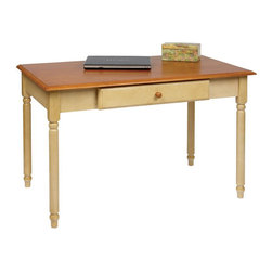 Office Star - Office Star Country Cottage Wood Writing Desk in Antique Yellow - Office Star - Computer Desks - CC25 - The Country Cottage Computer Desk is a tasteful and rustically-inclined choice for the home or office. The Country Cottage features carved-detail legs a cherry table top and drop-down keyboard tray / pencil drawer. An antique yellow finish completes the Country Cottage Computer Desk's appeal in giving it a vintage look.