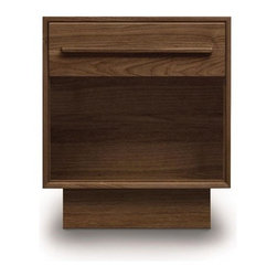 Copeland Furniture - Copeland Furniture | Moduluxe One-Drawer Nightstand - Made in Vermont by Copeland Furniture.Featuring the simple, refined lines of the Moduluxe modular bedroom system, the standalone One-Drawer Nightstand is an easy choice to pairing astride many modern bed designs. The Moduluxe One-Drawer Nightstand is crafted in solid cherry hardwood (available in six finishes), maple hardwood (available in eight finishes) or in natural walnut hardwood drawer pulls that match the drawer face. Its single drawer features asymmetrical English dovetail joinery with a fully finished interior, sanded with bottoms jet-welded and side mounted, full extension soft-close drawer slides offer smooth operation. Select wood color/finish. Then select one of two satin surface finishes: standard Copeland Lacquer top coat or formaldehyde free Copeland Water Based top coat. From Copeland Furniture's Moduluxe Series, offering highly configurable bedroom and storage systems to adapt to most spaces and needs.
