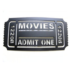 Home Theater Decor Movie Ticket 12208 Metal Wall Art by JNJ Metalworks - Set the scene by transforming your family room into a proper movie theater with the ultimate admission ticket.