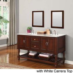 None - 60-inch Dark Brown Double Sink Mission Marble Top Vanity - A popular selection of stone tops boast complimentary characteristics and provide traditional elegance to this double vanity set. The rich brown finish wood vanity features two double-door cabinets with satin nickel footed cabinet pulls.