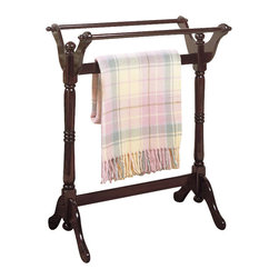 Powell Furniture - Powell Furniture Heirloom Cherry Blanket Rack - Powell Furniture - Blanket Racks - 441Z - Incorporate style with function in your bed or bath area with an Heirloom Cherry Blanket Rack from Powell. Beveled edge posts and flared legs pair with a antique cherry wood finish to make this practical accessory a natural for any upscale decor.