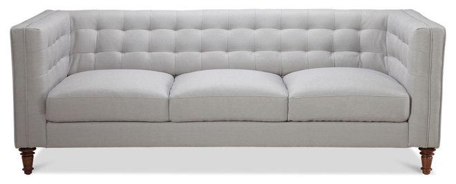 Modern Sofas Buckingham 3-Seat Sofa, Silver