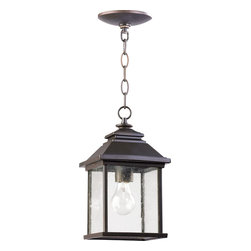 Quorum Lighting - Quorum Lighting Pearson Transitional Outdoor Hanging Light X-68-7-1497 - From the Pearson Collection, this Quorum Lighting outdoor hanging light is an excellent addition to any traditional outdoor lighting scheme. The classic lantern design features beveling along the roof and a clean rectangular frame. The Oiled Bronze finish and clear seeded glass windows pull this look together.