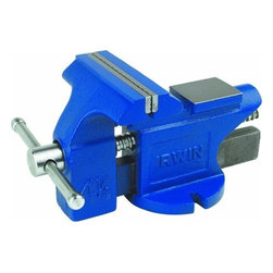 "Irwin Tools - 4-1/2"" Bench Vise - The IRWIN Tools 2026306 4-1/2"" Bench Vise features hardened steel jaw faces with cast iron pipe jaws and large forming horn. Cast iron body with blue enamel finish. Ground and polished anvil, 4-1/2'' jaw width, 4-1/2''' jaw opening.  