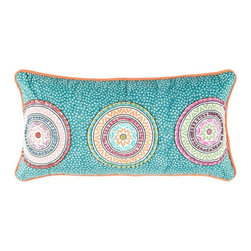 Rizzy Home - Rizzy Home Teal Circles Decorative Throw Pillow Multicolor - T04161 - Shop for Pillows from Hayneedle.com! Up the wow factor of your living room by adding this Rizzy Home Teal Circles Decorative Throw Pillow to your sofa. Its lively teal is dotted with sequins a zesty orange cord trim draws the eye and three medallions are embellished with beading and embroidery details that pop. This pillow features a hidden zipper for easy removal of the insert. The cover may be hand washed in cold water and laid flat to dry.Pillow Dimensions:Rectangular pillow: 21L x 11W in.Square pillow: 18L x 18W in.About Rizzy HomeRizwan Ansari and his brother Shamsu come from a family of rug artisans in India. Their design color and production skills have been passed from generation to generation. Known for meticulously crafted handmade wool rugs and quality textiles the Ansari family has built a flourishing home-fashion business from state-of-the-art facilities in India. In 2007 they established a rug-and-textiles distribution center in Calhoun Georgia. With more than 100 000 square feet of warehouse space the U.S. facility allows the company to further build on its reputation for excellence artistry and innovation. Their products include a wide selection of handmade and machine-made rugs as well as designer bed linens duvet sets quilts decorative pillows table linens and more. The family business prides itself on outstanding customer service a variety of price points and an array of designs and weaving techniques.