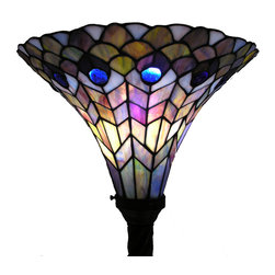 Warehouse of Tiffany - Tiffany-style Peacock Torchiere - The Peacock Torchiere has been handcrafted using the methods first developed by Louis Comfort Tiffany.